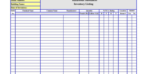 Chemical Inventory Spreadsheet Within Chemical Inventory Template Excel Database Spreadsheet Sheet