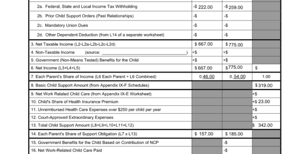 Child Expenses Spreadsheet In How Much Child Support Will I Pay In New Jersey?