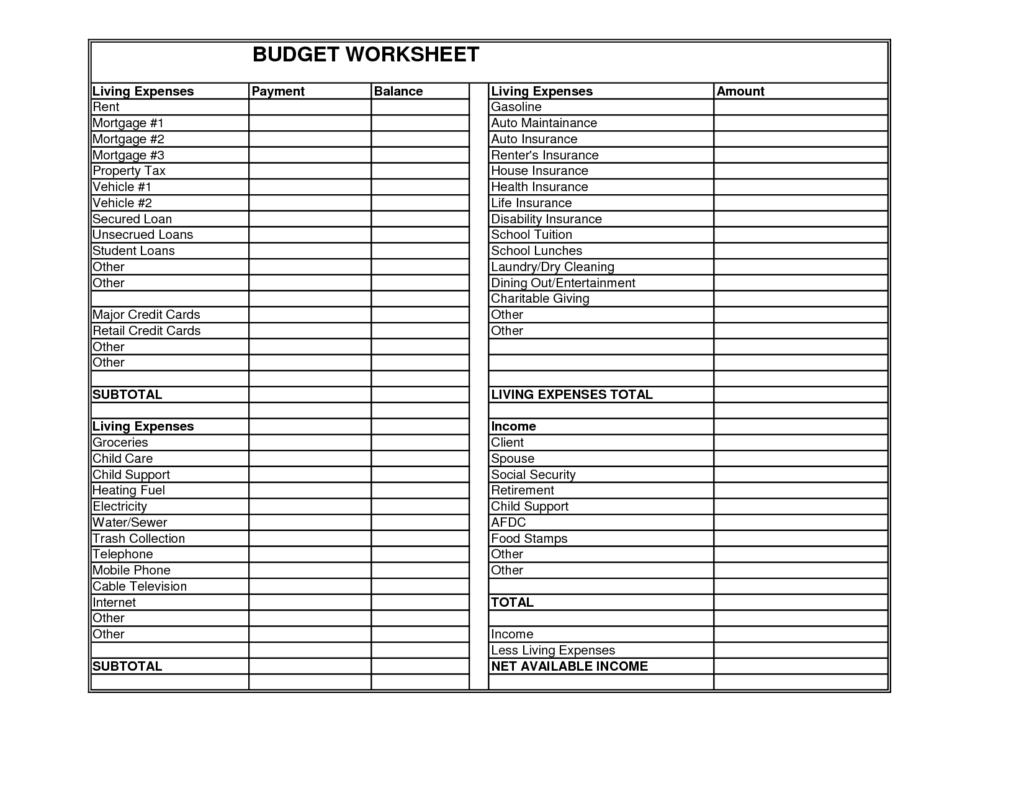 Child Expenses Spreadsheet Within Spreadsheet For Monthly Expenses And Monthly Expense Worksheet