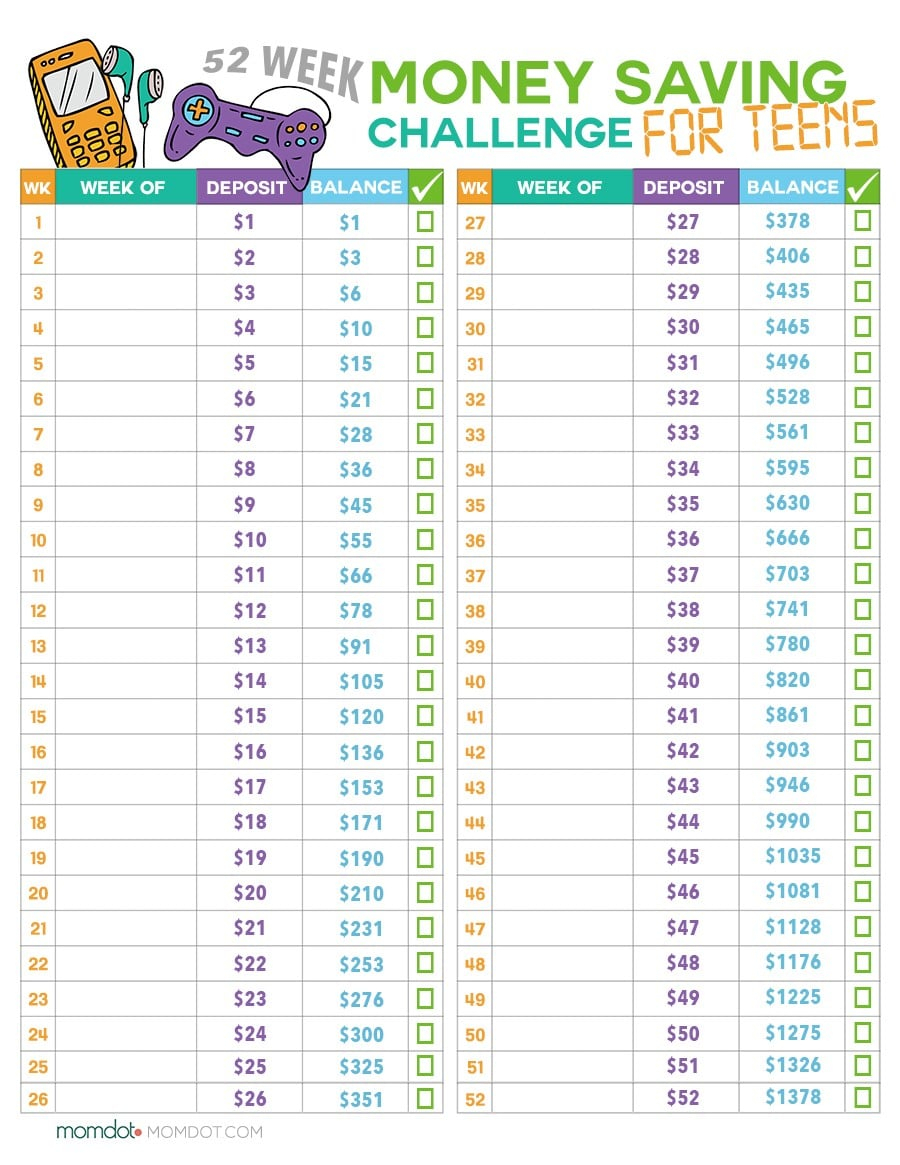 Children's Allowance Spreadsheet In 52 Week Money Challenge For Kids  Money Saving Printable