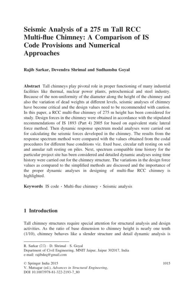 Chimney Height Calculation Spreadsheet Inside Pdf Seismic Analysis Of A 275 M Tall Rcc Multiflue Chimney: A