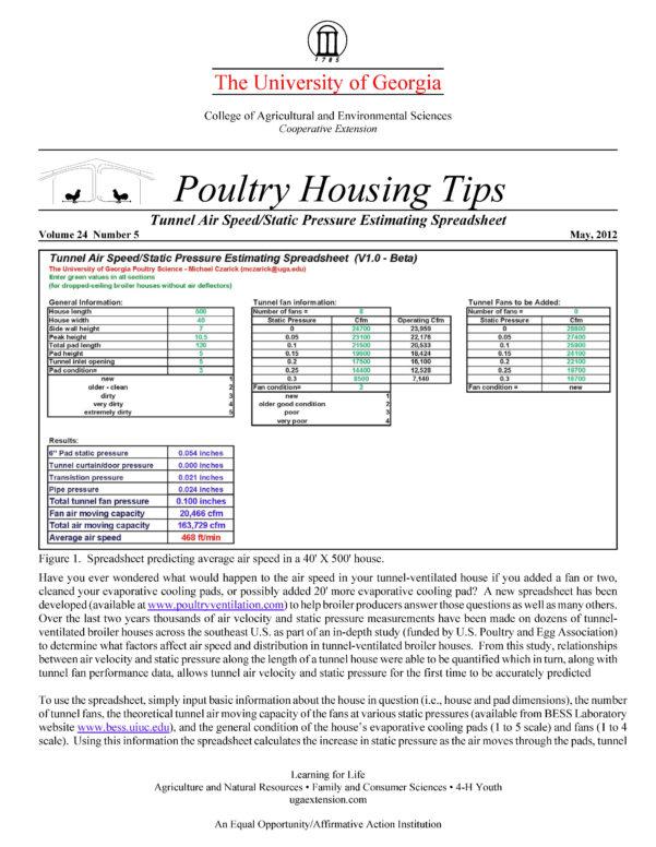 Chimney Height Calculation Spreadsheet Inside Tunnel Air Speed/static Pressure Estimating Spreadsheet  Uga