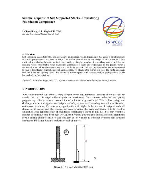 Chimney Height Calculation Spreadsheet Pertaining To Pdf Seismic Analysis Of A 275 M Tall Rcc Multiflue Chimney: A
