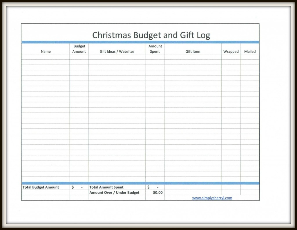 Christmas Present Spreadsheet Intended For Free Christmas Budget And Gift Log  Simply Sherryl
