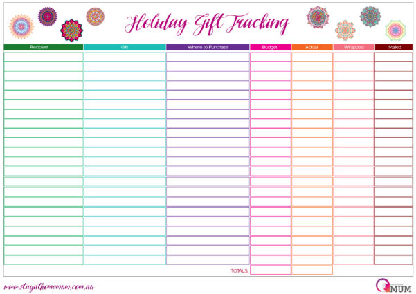 Christmas Present Spreadsheet With Regard To Holiday Gift Tracking Spreadsheet