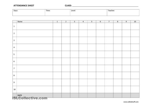 Church Attendance Tracking Spreadsheet For 25  Printable Attendance Sheet Templates [Excel / Word]  Utemplates