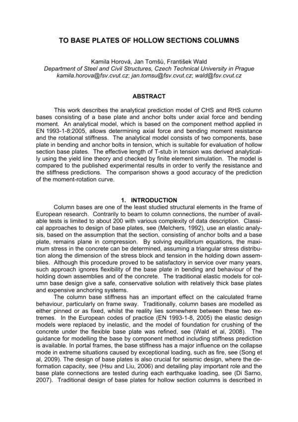 Circular Base Plate Design Spreadsheet Inside Pdf Design Of Circular Hollow Section Base Plates