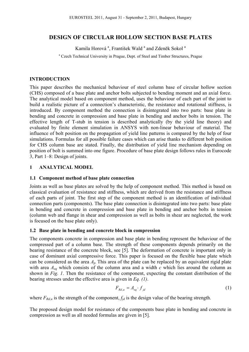 Circular Base Plate Design Spreadsheet Pertaining To Pdf Design Of Circular Hollow Section Base Plates