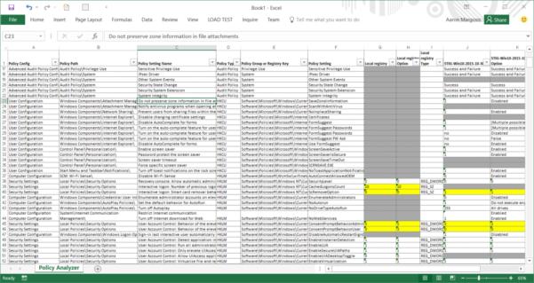 Cis Benchmark Excel Spreadsheet Regarding New Tool: Policy Analyzer – Microsoft Security Guidance Blog