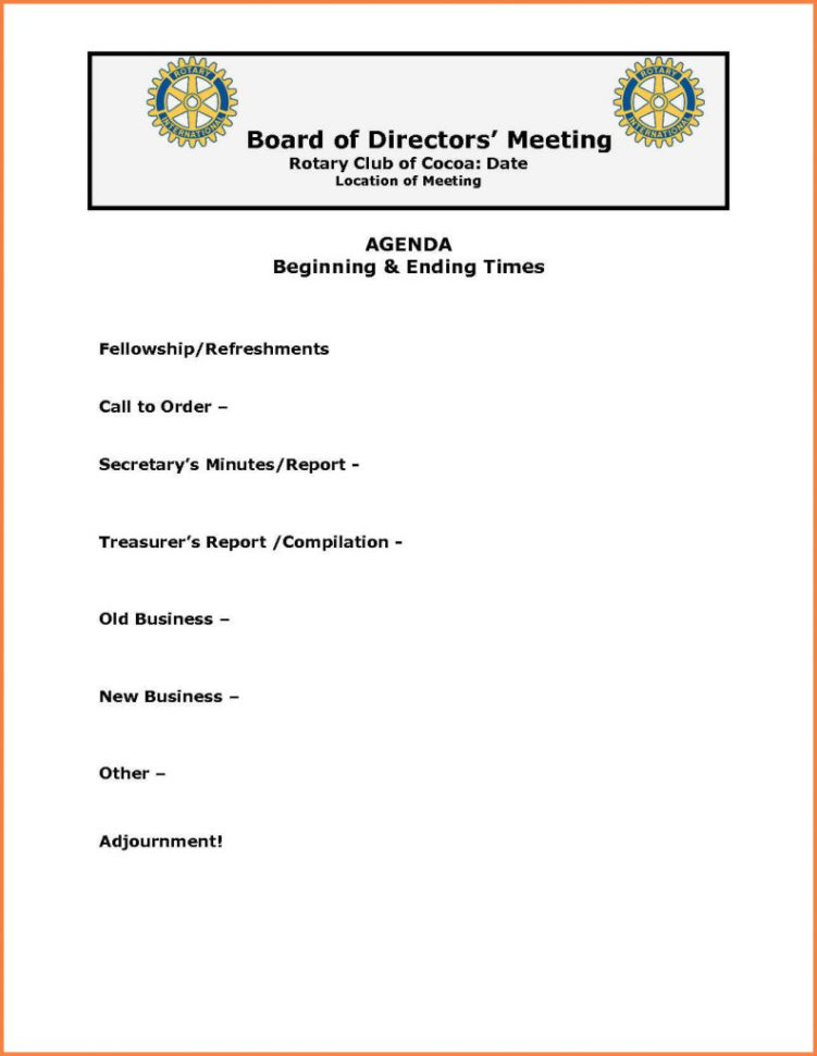 Club Treasurer Spreadsheet Template With Regard To Board Meeting Report Template 6 7 Agenda Vorlage Vigamassicom