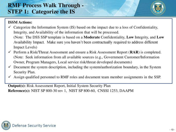 Cnssi 1253 Spreadsheet Pertaining To Defense Security Service Risk Management Framework Rmf  Ppt Download