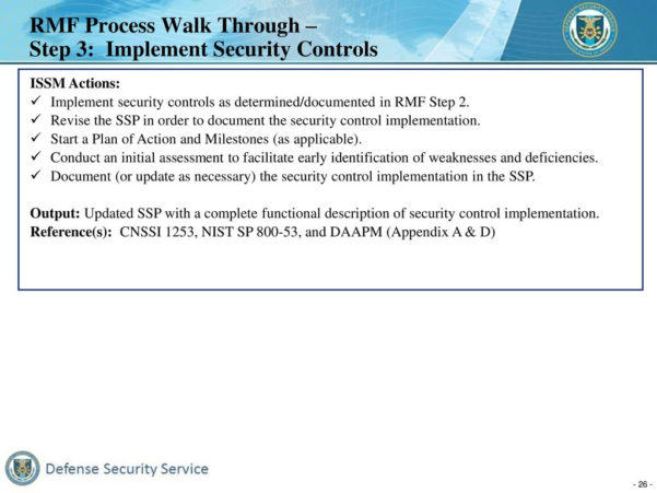 Cnssi 1253 Spreadsheet With Defense Security Service Risk Management Framework Rmf  Ppt Download