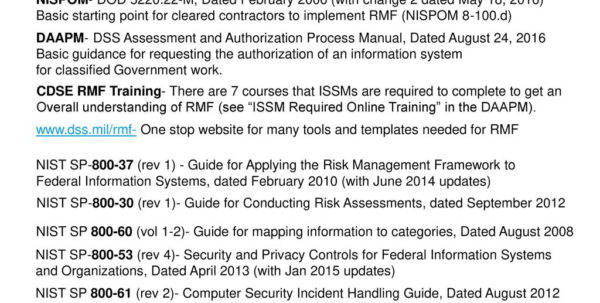 Cnssi 1253 Spreadsheet With Regard To Defense Security Service Risk Management Framework Rmf  Ppt Download