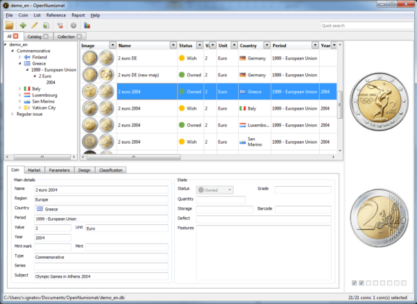 Coin Collection Spreadsheet Pertaining To Opennumismat  Free Coin Collecting Software