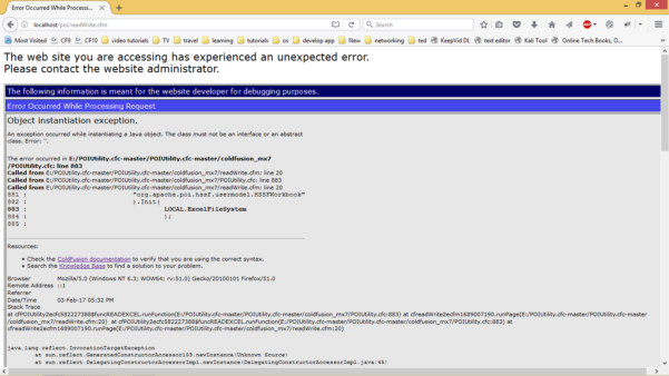 """Coldfusion Spreadsheet Functions Intended For Poiutility.cfc  Cannot Read Excel Files: """"object Instantiation"""