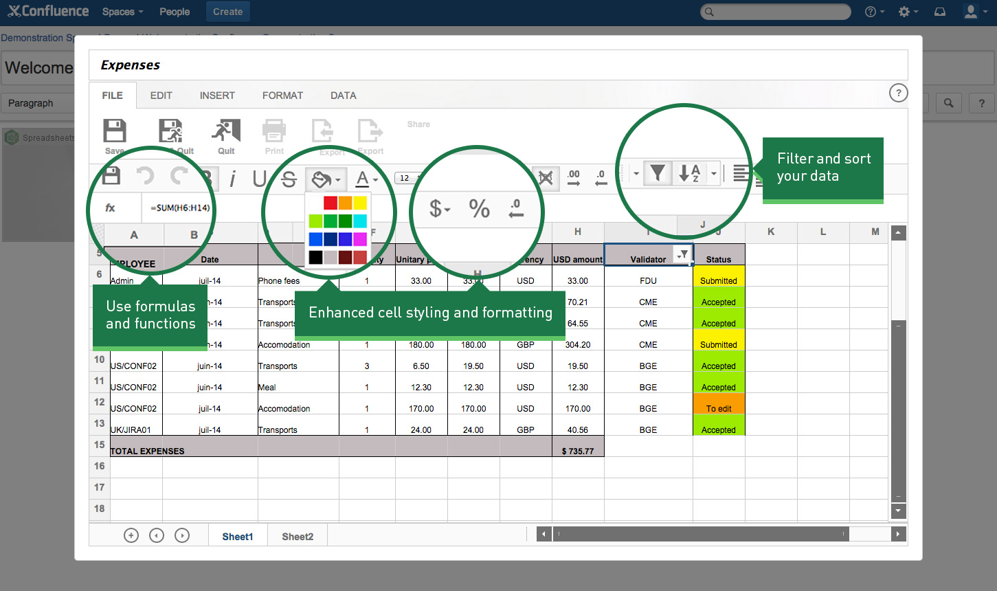Collaborative Spreadsheet With Regard To Spreadsheets For Confluence