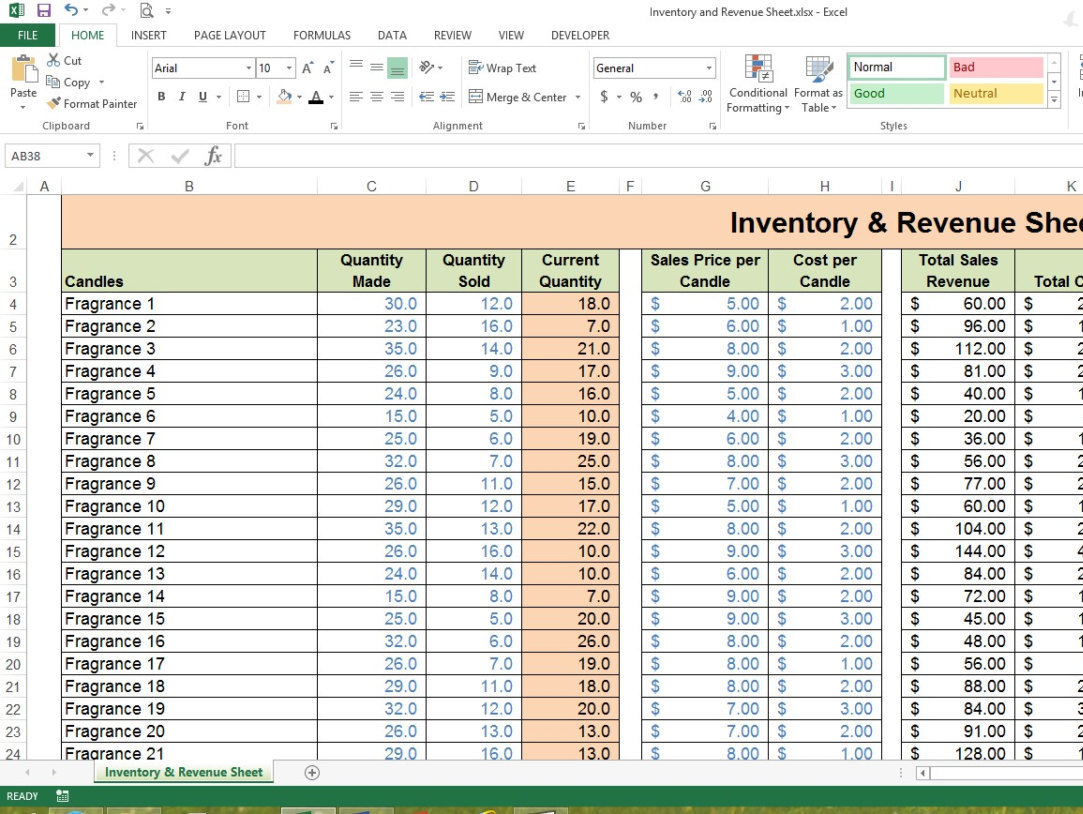 Collectibles Inventory Spreadsheet With Regard To Inventory  Revenue Sheet Excel Spreadsheet Small Business  Etsy