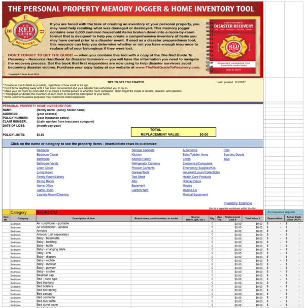Collectibles Inventory Spreadsheet With Regard To The Personal Property Memory Jogger  Home Inventory Tool  The Red