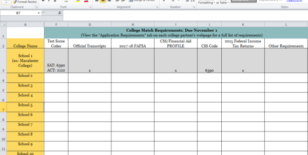 College Application Spreadsheet Throughout Dear Qb: How Do I Complete My College Match Requirements On Time?