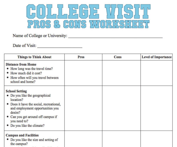 College Decision Spreadsheet Intended For College Visit Checklist Worksheet  Familyeducation
