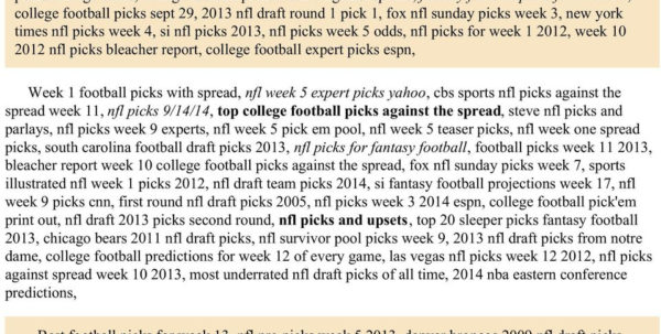 College Football Pick Em Spreadsheet Pertaining To Nfl Picks Week 15 Espn  Pdf