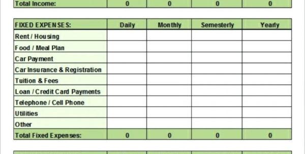 College Student Expenses Spreadsheet Regarding 020 Template Ideas College Student ~ Ulyssesroom