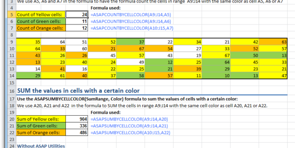 Colourful Excel Spreadsheet For Asap Utilities For Excel – Blog » Tip: Easily Count Or Sum Cells