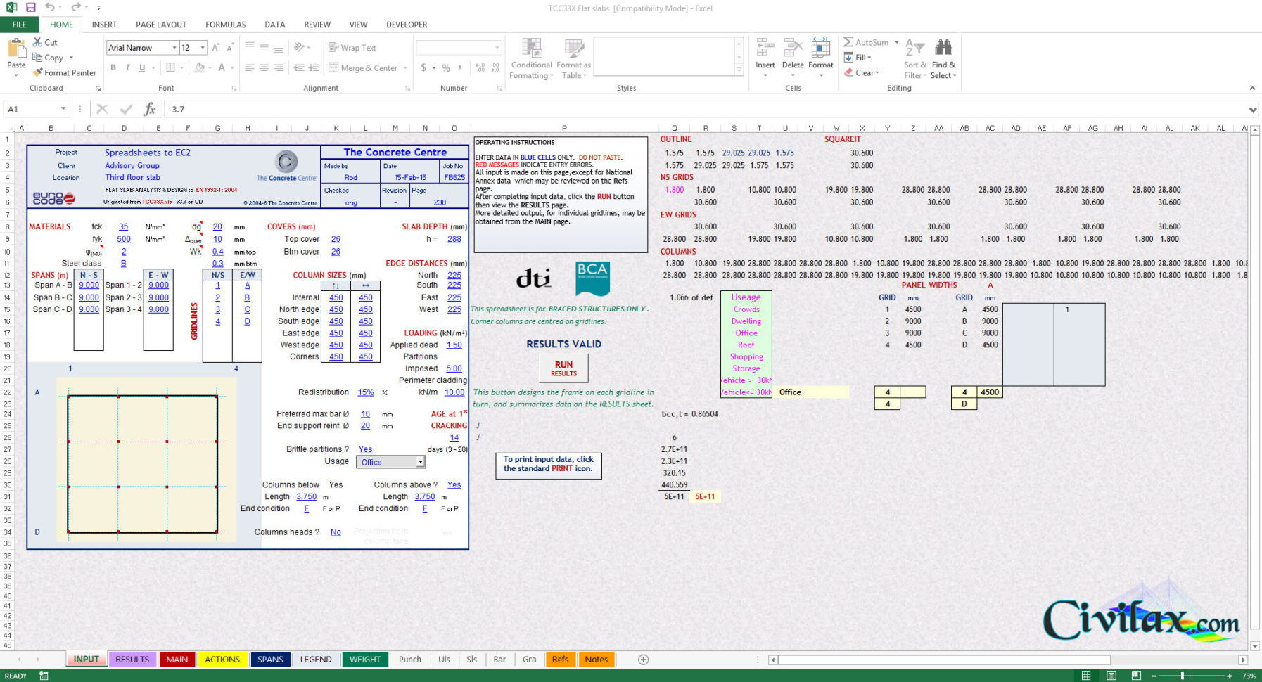 Column Design Eurocode 2 Spreadsheet Inside Flat Slab Design Spreadsheets To Eurocode 2  Civil Engineering