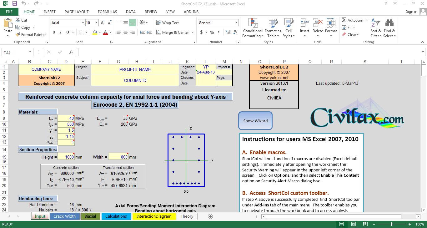 Column Design Eurocode 2 Spreadsheet Regarding Concrete Short Column Analysis And Design To Eurocode