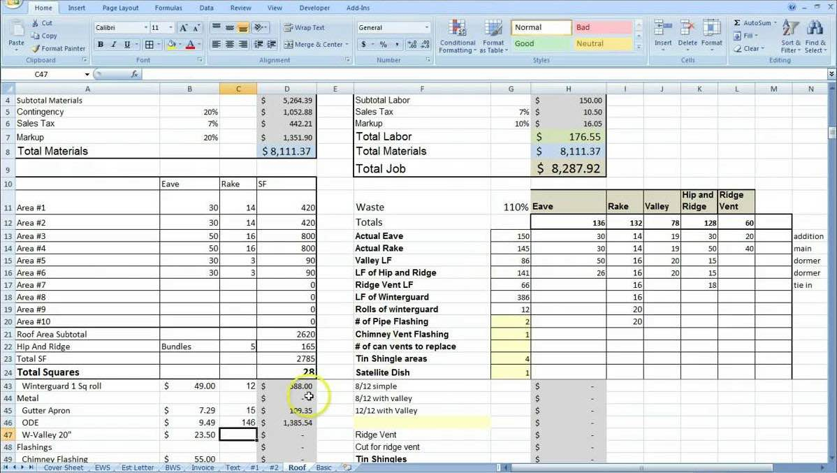 commercial construction estimating spreadsheet spreadsheet