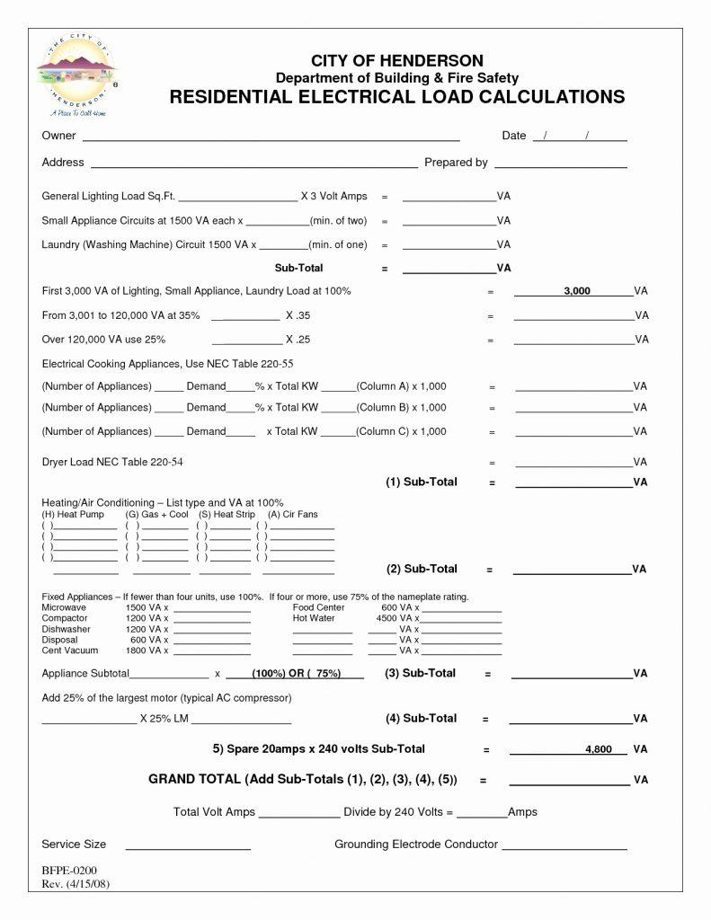 Commercial Electrical Load Calculation Spreadsheet Inside Commercial Electrical Load Calculation Spreadsheet  Aljererlotgd