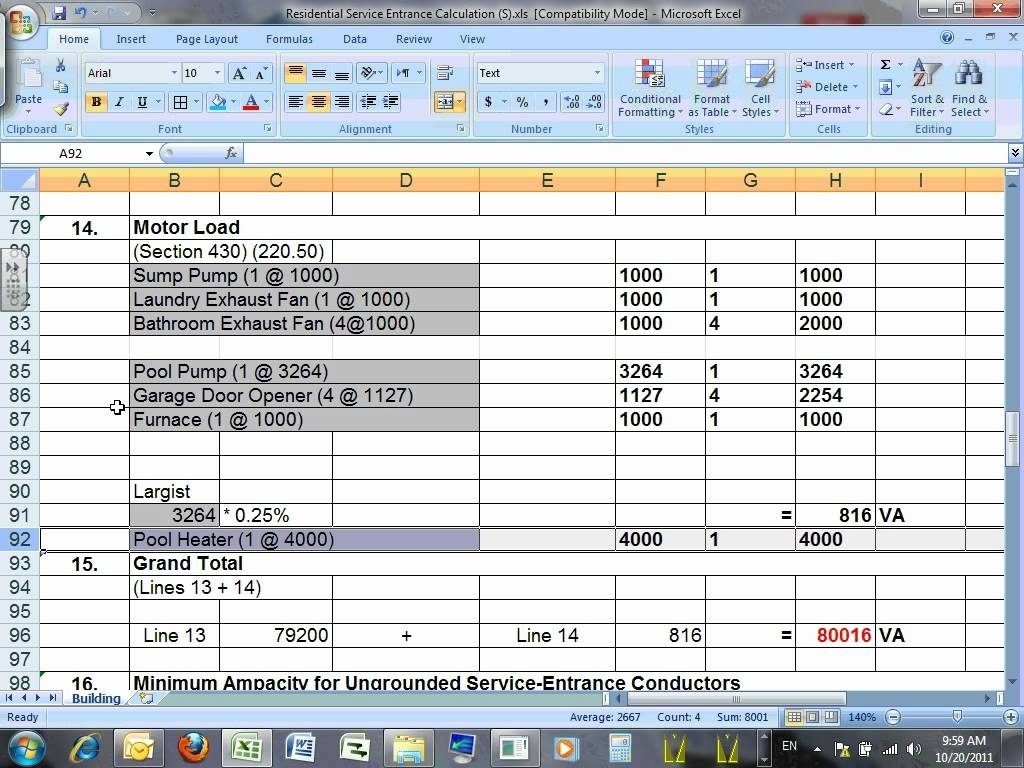 Commercial Electrical Load Calculation Spreadsheet Pertaining To Commercial Electrical Load Calculation Spreadsheet  Csserwis