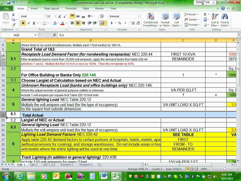 Commercial Electrical Load Calculation Spreadsheet Regarding Example Of Commercial Electrical Load Calculation Spreadsheet
