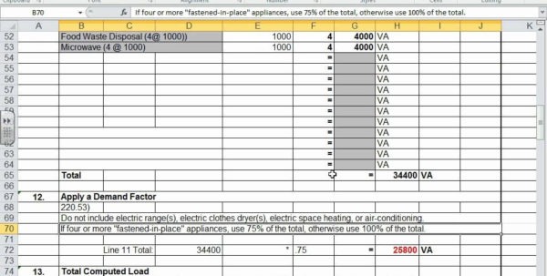 Commercial Electrical Load Calculation Spreadsheet Within Example Of Commercial Electrical Load Calculation Spreadsheet