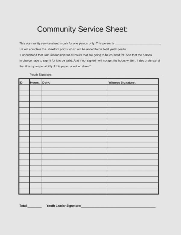 Community Service Spreadsheet Inside What Makes Community Service  The Invoice And Form Template