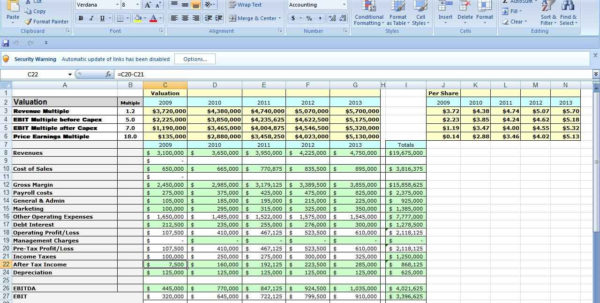 Company Valuation Excel Spreadsheet With Company Valuation Excel Spreadsheet  Resourcesaver