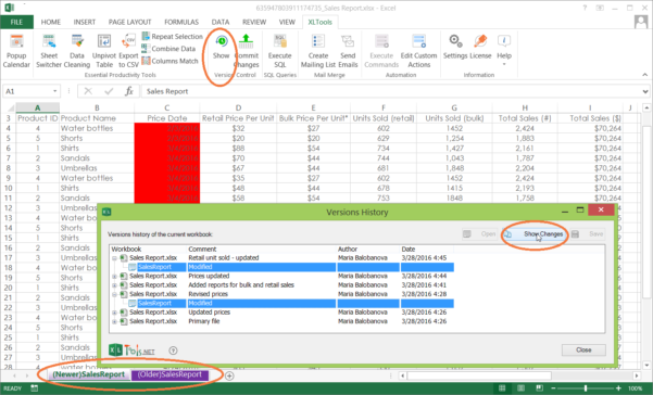 Compare Excel Spreadsheets Throughout Version Control For Excel Spreadsheets  Xltools – Excel Addins You