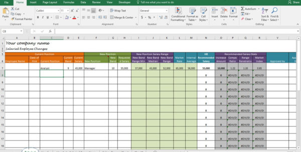 Compensation Analysis Spreadsheet With Regard To Salary Increase Template Excel, Compensation Metrics Calculations
