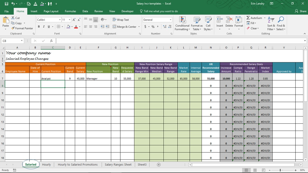 Compensation Spreadsheet Template Inside Salary Increase Template Excel, Compensation Metrics Calculations
