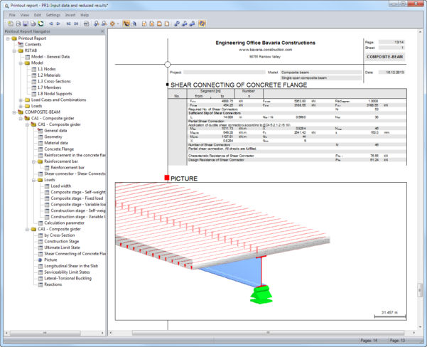Composite Beam Design Spreadsheet For Compositebeam: Structural Analysis Of Composite Beams  Dlubal Software