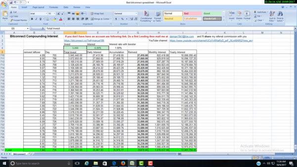 Compound Interest Spreadsheet Bitconnect In Compound Interest Spreadsheet Bitconnect Into In One Year  Pywrapper