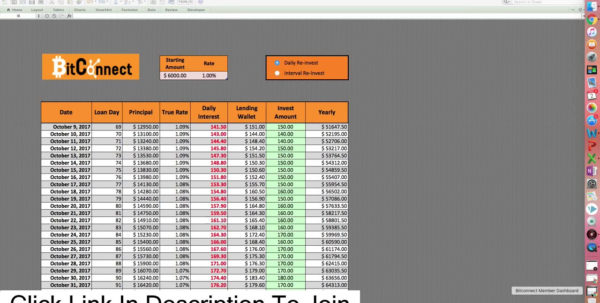 Compound Interest Spreadsheet Bitconnect With Regard To Compound Interest Spreadsheet Bitconnect Into In One Year  Pywrapper