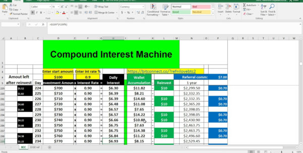 Compound Interest Spreadsheet Bitconnect With Regard To Compound Interest Spreadsheet Bitconnect  Pywrapper