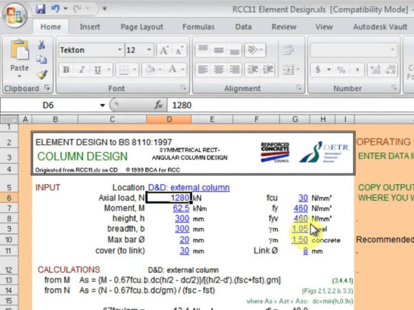 Concrete Column Design Spreadsheet Free Download In Maxresdefault Sheet Reinforced Concrete Column Design Spreadsheet
