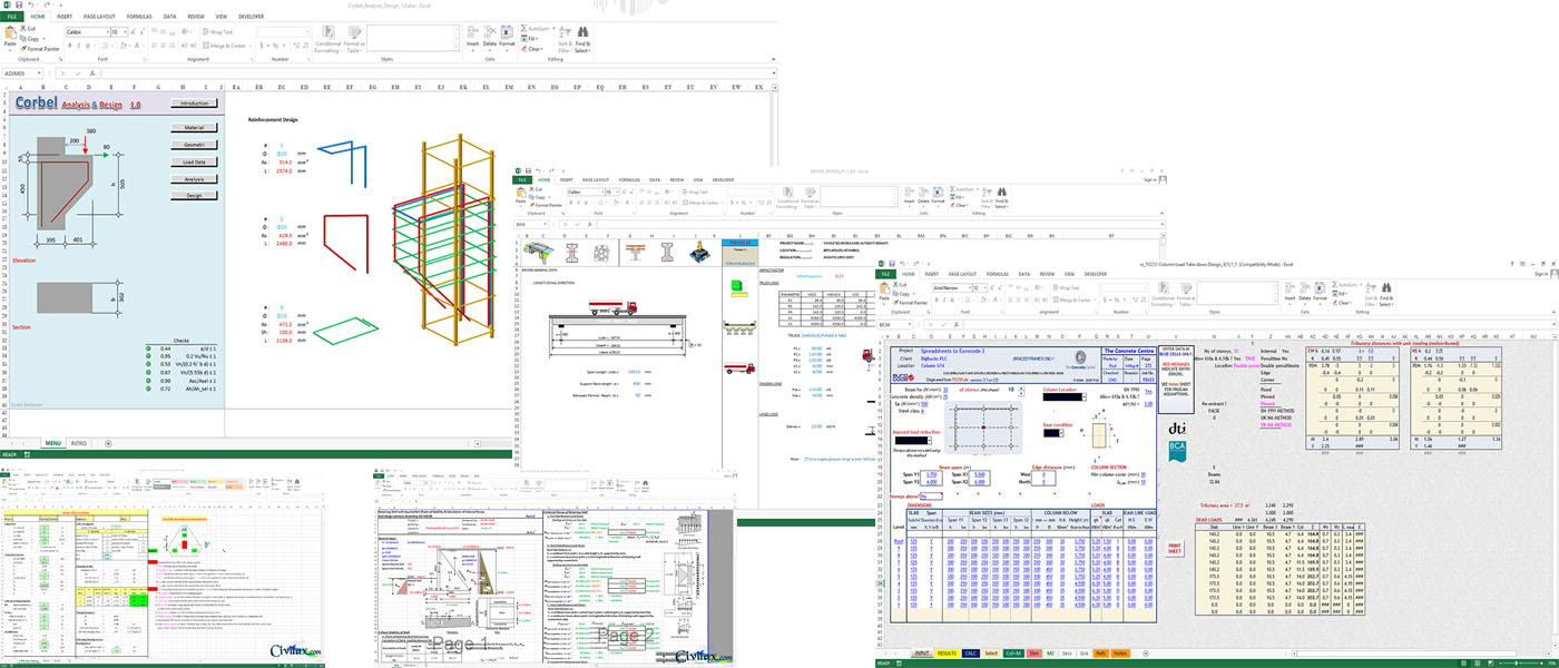 Concrete Column Design Spreadsheet Free Download Regarding Premium Civil Engineering Spreadsheets Collection  Civil