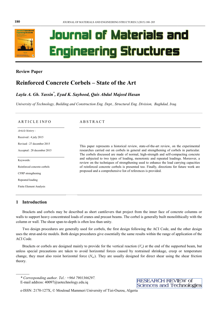 Concrete Corbel Design Spreadsheet Within Pdf Reinforced Concrete Corbelsstate Of The Art A R T I C L E I N F O