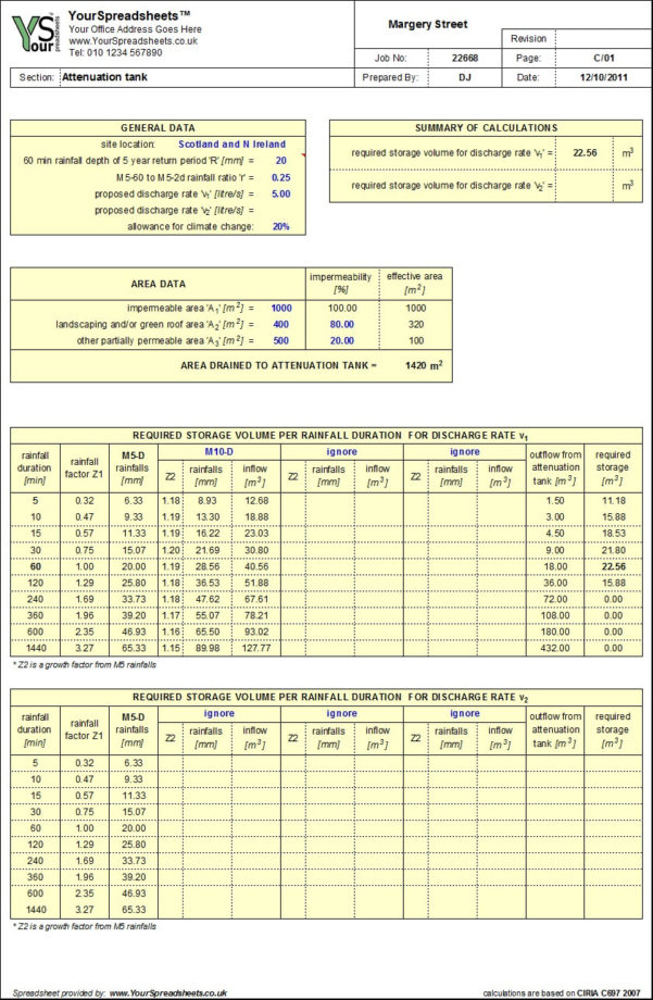 Concrete Mix Design Spreadsheet Inside Attenuation Tank Design Spreadsheet To Ciria C697