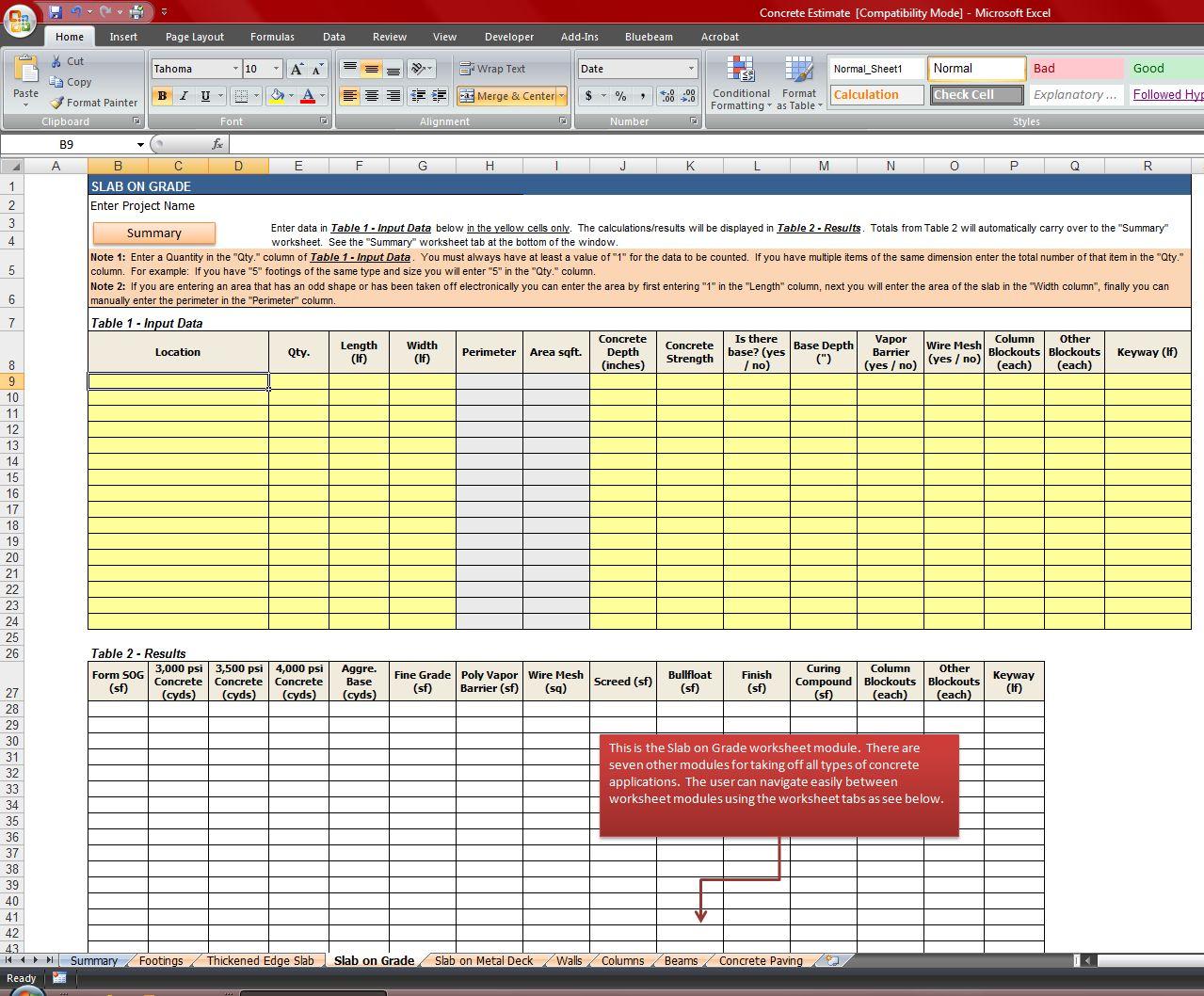 Concrete Quantity Takeoff Excel Spreadsheet With Concrete Quantity Takeoff Excel Spreadsheet  Homebiz4U2Profit