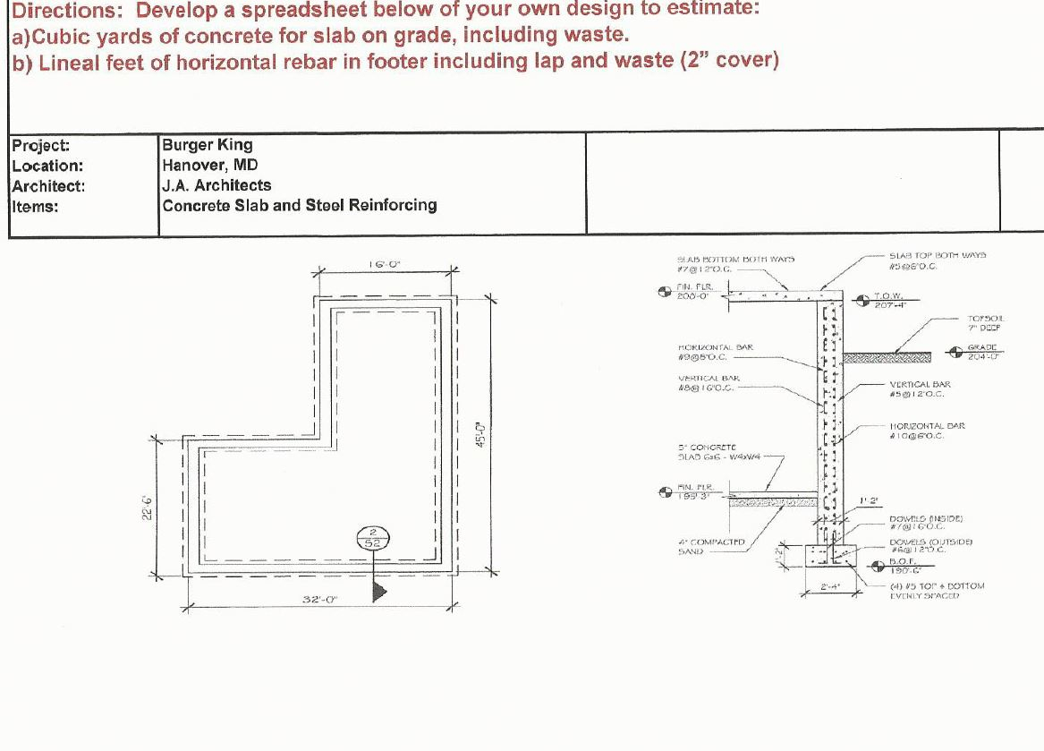 Concrete Slab On Grade Design Spreadsheet Throughout Solved: This Is For Construction Estimating. I Need Help S