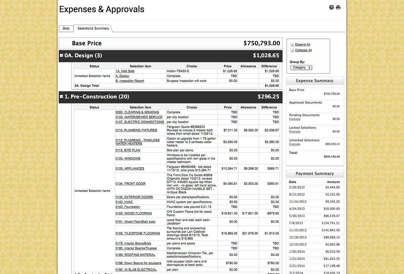 Construction Allowance Spreadsheet Pertaining To Garner Homes  Client Communication